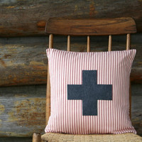 """red and cream swiss cross pillow cover / charcoal / throw pillow  / 16"""" x 16""""  /  farmhouse / cabin style / rustic / fall decor"""