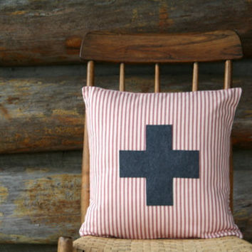 "red and cream swiss cross pillow cover / charcoal / throw pillow  / 16"" x 16""  /  farmhouse / cabin style / rustic / fall decor"