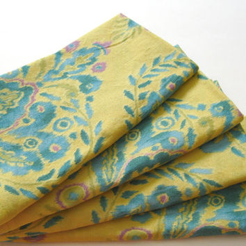 Cloth Napkins - Set of 4 - Yellow Turquoise Design - Dinner, Table, Everyday, Wedding