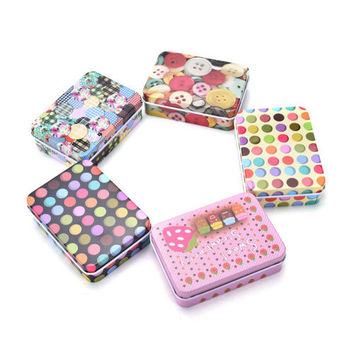 Mini Tin Metal Container Small Rectangle Lovely Storage Box Case Pattern HU