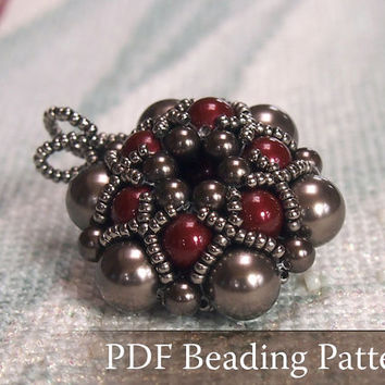Beading Tutorial Dorothy Pendant, Beadwork PDF Pattern with Swarovski Crystal Pearls and japanese seed beads