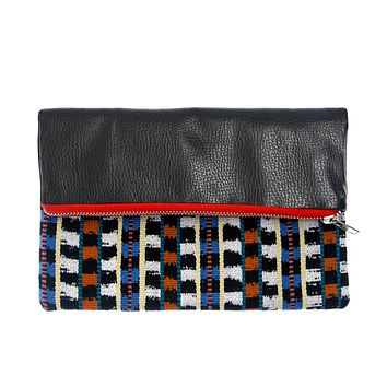 Leather Foldover Ikat Crossbody Clutch