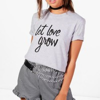 Charity Petite 'Let Love Grow' T Shirt | Boohoo