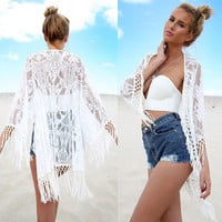2016White Lace Crochet Sexy Tassel Bathing Suit Cover Up Beach Long Sleeve Dress Bikini Swimwear Coverups vestidos crochet playa