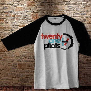 21Pilots Raglan shirt Twenty one pilots migrain shirt tshirt, Rock band shirt white gray Raglan S M L
