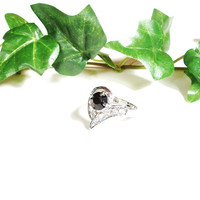 Vintage Black Rhinestone Cocktail Ring Silver Size 10