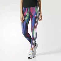Fashion Adidas Multicolor Tight stretchPrint Exercise Fitness Gym Yoga Running Leggings Sweatpants