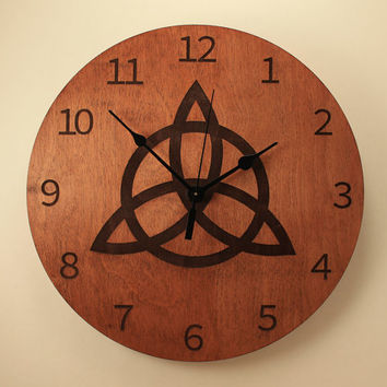 Trinity knot laser cut clock Celtic knot clock Wood clock Wall clock Wooden wall clock Home clock Irish clock Celtic clock Wood knot
