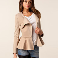 Zipper-Front Long Sleeve Peplum Top