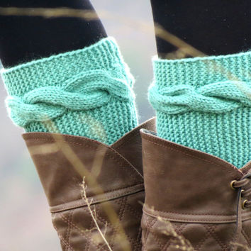 Knitted Boot Cuff  Woman  - Mint aqua Short Cable Knit Boot Cuffs. Short Leg Warmers. Crochet Boot Cuffs. Aqua Legwear