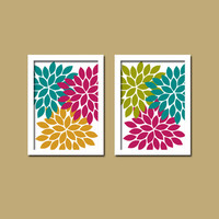 Bold Colorful Orange Teal Pink Purple Floral Flower Burst Set of 2 Prints WALL Baby Decor Abstract ART Bedroom Bathroom NURSERY Picture Crib