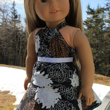 18 inch doll clothes, floral print circle/skater skirt, matching halter top and belt, american girl, Maplelea