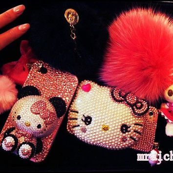 Bling Lovely Panda Cat Case iphone 3/4/4s/5,Apple ipod 4/5,Samsung Galaxy S3/S4/S4 Active,Samsung Note 1/2,Htc One,Blackberry Q10 Z10 Case