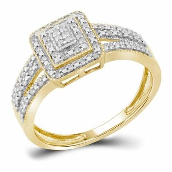 10kt Yellow Gold Womens Round Diamond Square Cluster Bridal Wedding Engagement Ring 1/6 Cttw