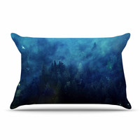 "888 Design ""Blue Night Forest"" Blue Black Pillow Case"