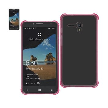 Reiko REIKO ALCATEL ONE TOUCH FIERCE XL MIRROR EFFECT CASE WITH AIR CUSHION PROTECTION IN CLEAR HOT PINK