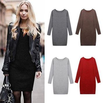 DCCKIHN Fashion Winter Women Sweater Dress Women Clothes Ladies Long Sleeve Knitted Bodycon Stretch Party Casual Dress Black Gray