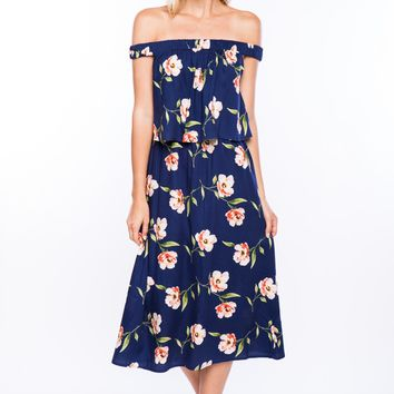 Off the Shoulder Floral Midi Dress in Navy/Coral
