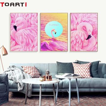 Pink Flamingo Canvas Painting Posters And Print Picture Nordic Bright Color Wall Art For Living Room Bedroom Home Deco No Frame