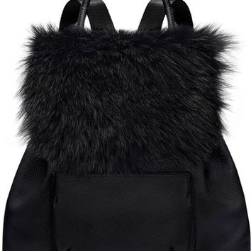 Elizabeth and James 'Langley' Leather & Genuine Sheep Fur Backpack | Nordstrom