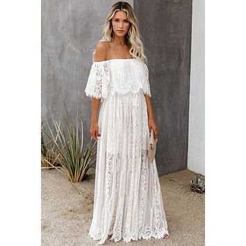 The Best Chapter Off The Shoulder White Lace Maxi  Party Dress