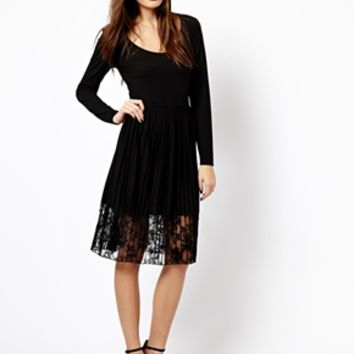 French Connection Pleated Jersey Dress with Lace Detail - Black