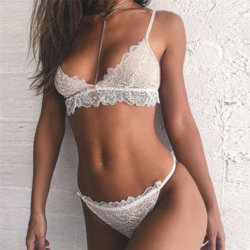 Sexy On Sale Cute Hot Deal Lace Spaghetti Strap Set Exotic Lingerie [9940088515]