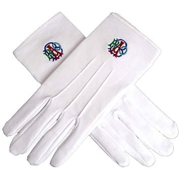 RAOB Machine Embroidery White Cotton Gloves