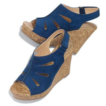 Cushion Walk® Cut-Out Cork-Wedge Sandal