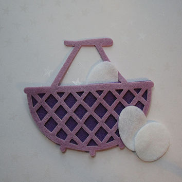 Lavender and purple felt wicker style basket with eggs, felt cut out, die cut out, scrapbooking and embellishment, supply, Spring, Easter