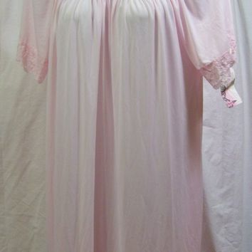 Shadowline, Long Night Gown, Pretty Pink, Opacitrique Nylon, Pretty Nightgown,Lace Trim, Resort Cruise, Hospital Maternity, Size M Medium