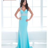 (PRE-ORDER) Tony Bowls 2014 Prom Dresses - Turquoise Rhinestone Open Back Jersey Prom Dress