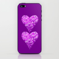 two sparkling hearts (in purple) iPhone & iPod Skin by Marianna Tankelevich