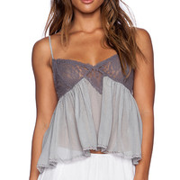 Free People Sweet Lace Cami in Gray