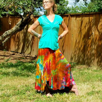 RAinbOw Brite iCe tiE dyed hiPPie skirt tie dye skirt boHo rainbow dance tattered skirt flowy festival skirt pixie maxi skirt long comfy