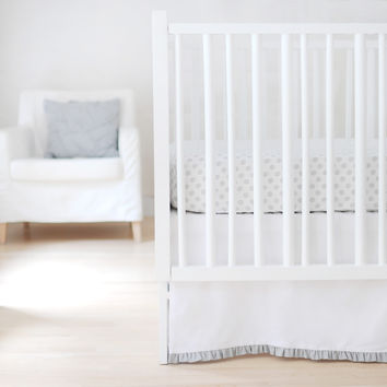 Sweet & Simple Seperates - White with Gray Ruffle  Crib Skirt