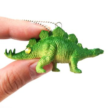 Stegosaurus Armored Dinosaur Shaped Pendant Necklace in Green | Animal Jewelry