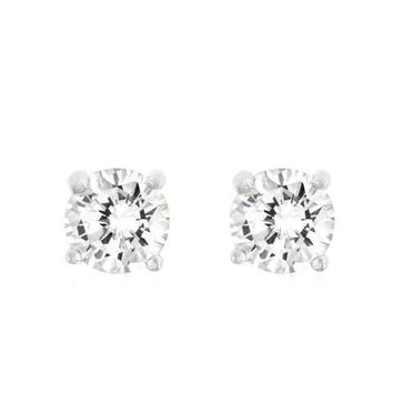 5mm Round White CZ Sterling Silver Stud Earrings