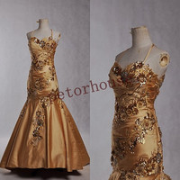 Gold Applique Vintage Halter Long Prom Dresses, Fashion Evening Gown,Fomal Party Dresses,Court Prom dresses,Evening Dresses,Wedding Dressese