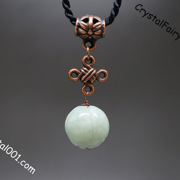 Handmade Tiny Single Copper Chinese Knot Lotus Flower Natural Jade Necklace
