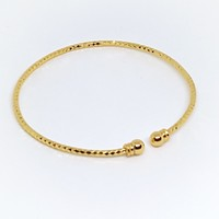 1-4064-g5 Gold Overlay thin Diamond Cut Balance Bangle. Stackable!