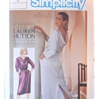 Drape Back Dress Pattern, Lauren Hutton Simplicity 6641, Size 8 | CandyAppleCrafts - Supplies on ArtFire