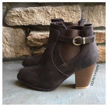 """Style and Flare"" Always Faithful Buckle Detail Brown Heel Bootie Boots"