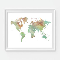 Watercolor World Map Print, Travel Map Art Print, Map of the World, 8X10 or 11x14 Home Decor Wall Decor
