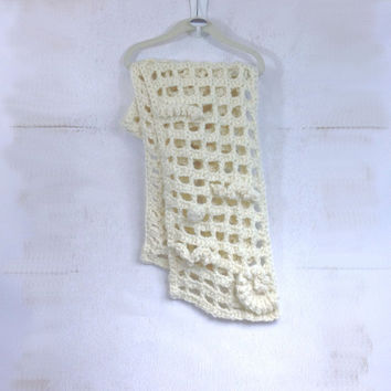 Crochet FreeForm Scarf Mesh - Off White Acrylic