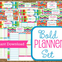 INSTANT DOWNLOAD-Planner Printables Set Bold Pattern-Home and Business Planner-15 Vibrant Sheets