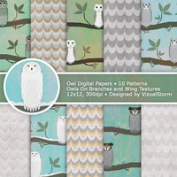Owl Digital Paper Printable Bird Backgrounds, Woodland Scrapbooking Papers, Owl Patterns, Digital Woodland Owl Paper Neutral Animal Paper