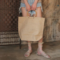 Ring Handle Tote Bag (Light Beige)