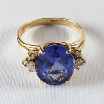 Tanzanite Ring, Diamonds, 14K Gold, 1940s Art Deco Vintage Jewelry SALE