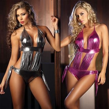 Women Fashion Patent Leather Temptation Halter Deep V Backless Hollow Bandage Sleeveless Bodysuit